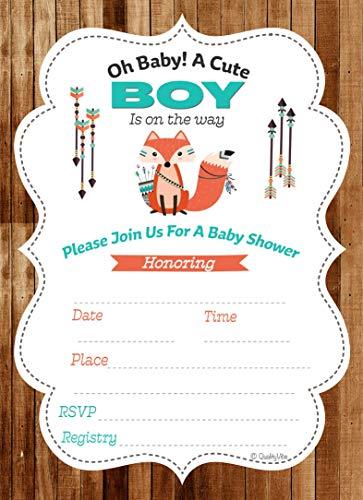 Baby Shower Invitations Woodland, Little Fox for Baby boy Shower. Set of 25 Full Color Invitations Include 25 envelopes. Quality & Heavy 14 pt. Paper Matte 5