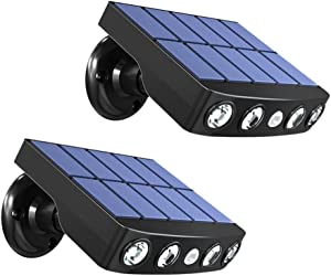Yobobo Security Lights Motion Sensor Light Outdoor Solar,[2 Pack ] Solar Powered Lighting,IP65 Waterproof Outside Wall Lights,[4 High Power LED Beads],for Front Door,Fence,Yard,Garage,Patio (Black)