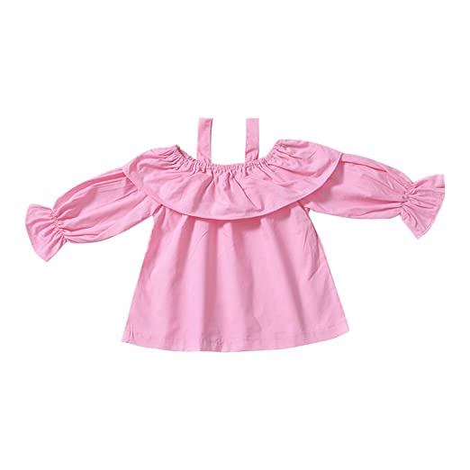 5827eb4235f Amazon.com: AIKSSOO Toddler Baby Girls Ruffle Outfit Solid Long ...