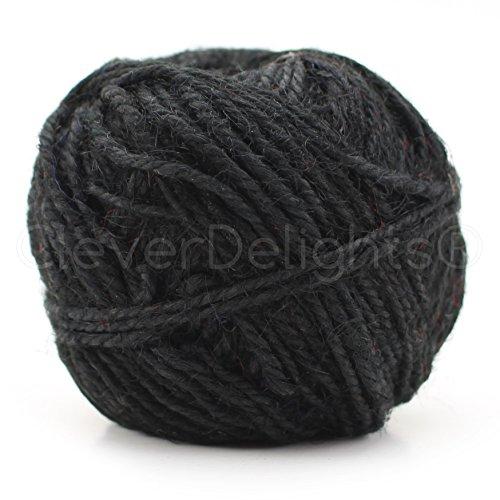 Black Jute (CleverDelights Black Jute Twine - 100 Yards - 2mm Diameter - Eco-Friendly Natural Jute String Rope)