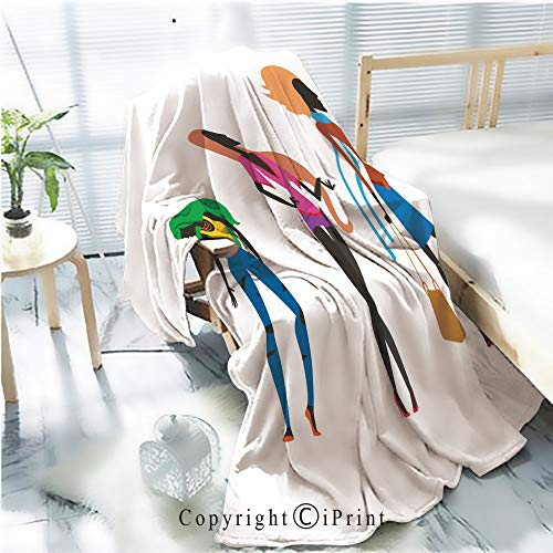 Printed Soft Blanket Premium Blanket,Fashion Look Girl Silhouette Beautiful Girl Woman Female and Pretty Young Model Style Hair Lady Character Glamour Cute Vector Illustration Microfiber Aqua Blanke