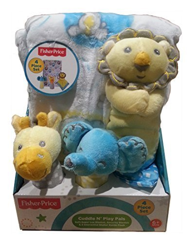Fisher Price Cuddle N Play Pals - Lion, Elephant & Giraffe- 4 Piece Gift ()