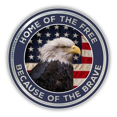 Bald Eagle Sticker - Vinyl Junkie Graphics Home of The Free Because of The Brave Bald Eagle American Flag Sticker