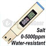 eSeasongear SALT-3050 Waterproof Tester, Digital Salinity PPM Temperature Meter for Salt Water Pool and Koi Fish Pond
