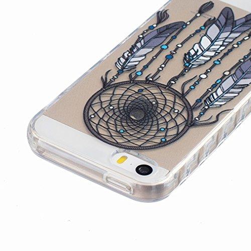 Ougger Apple iPhone 5s / iphone SE Custodia Case, Antigraffio Trasparente Cristallo Durevole Slim Morbido TPU Gomma Silicone Flessibile Protettivo Skin Shell Bumper Rear (Modello 12)