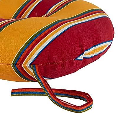 Greendale Home Fashions AZ5817S2-CARNIVAL Fiesta Stripe Outdoor 18-inch Bistro Seat Cushion (Set of 2) : Garden & Outdoor