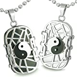 Love Couple Cosmic Balance Yin Yang Dog Tags Simulated Onyx White Simulated Cats Eye Pendant Necklaces