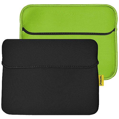 Amzer 10.6-Inch Slim Reversible Neoprene Horizontal Sleeve with Pocket for TableteBook Reader - BlackLeaf Green (AMZ94868)