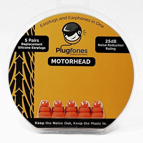 Plugfones Motorhead Replacement Silicone Ear Plugs - 5 pairs (Orange)