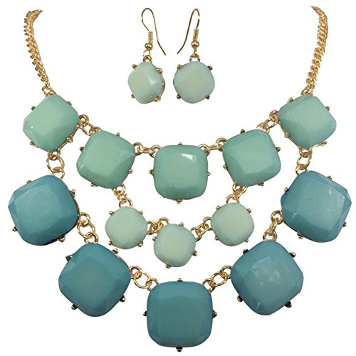 Squares Multi Statement Necklace Earrings product image