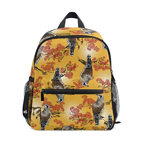 DERLONKAJE Japanese Painting Hawk Pattern Kids Backpack Pre-School Bag for Kindergarten Toddler Boy - Backpack Hawk Girls For