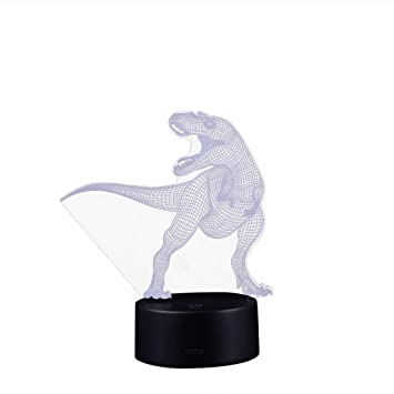 Dinosaur Led 3d Illuminated Lamp Optical Desk Night Light With 7 Color Changing Led Lamps