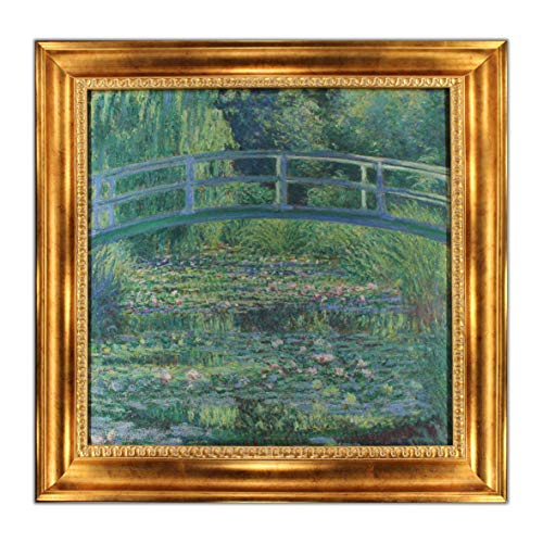 (UpperPin The Japanese Footbridge by Claude Monet, Oil Painting Print on Museum Quality Canvas, with Victorian Gold Frame, Size 28