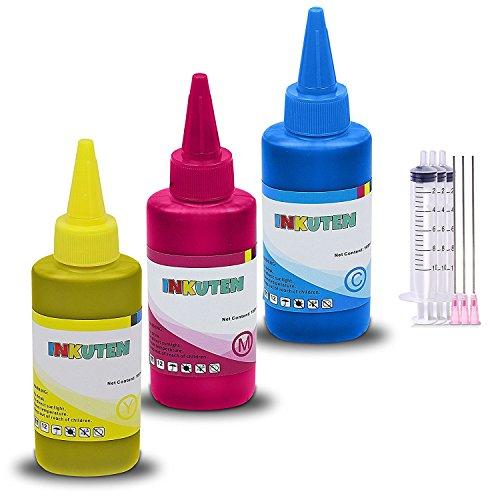 INKUTEN TM 3 X 120ML refill ink kit with syringes for HP ...