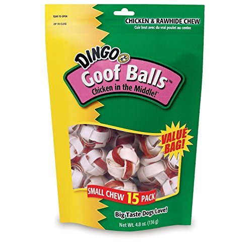 Dingo Goofballs Chicken & Rawhide Chews, Small, 15-Count(2Pack) (Dingo Balls)