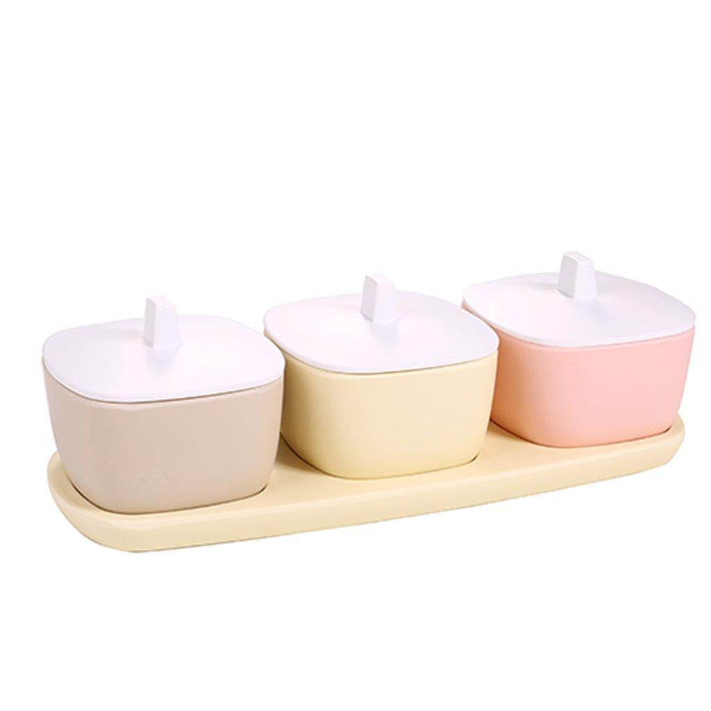 ZFDM Seasoning Box Set Salt Canned Sugar Bowl Creative Seasoning Kitchenware (4 Pack) (Color : B)