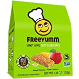 FreeYumm Allergen Free Granola Bars, Gluten Free, Dairy Free, Nut Free Snacks for Kids, Total of 15 Bars (Honey Apple)