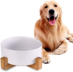 White Ceramic Dog Bowls with Wood Stand, Dog Water Bowls and Food Dish, Heavy Weighted or No Tip Over Dog Comfort Food Bowls, Stoneware Pet Bowl,Extra High Capacity 8.4