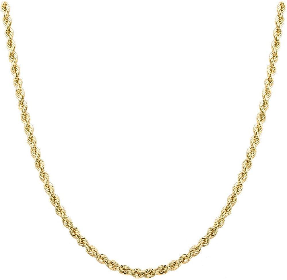 "Orostar 10K Yellow Gold 3MM, 3.5MM, 4MM, Diamond Cut Handmade Rope Chain Necklace, 16"" - 30"""