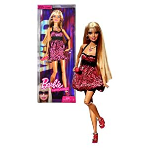 Mattel Year 2009 Barbie Fashionistas Series 12 Inch Doll - WiLD Theme Barbie with Leopard Motif Neck Strap Maroon Baby Doll Dress, Necklace, Earrings, Purse and Pair of High Heel Shoes (R9881)