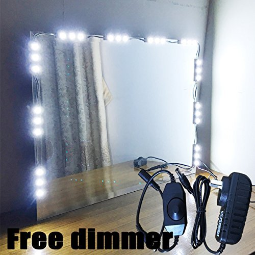 Vechi 5u0027 LED Mirror Light Kit Hollywood Makeup Mirror Light, Vanity White  With Dimmer