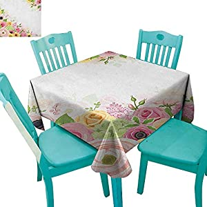 """Anemone Flower Dinning Tabletop DecorRoses Ranunculus and Hydrangea Flowers and Green Leaves Frame 70""""x70"""",Suitable for Kitchen, dustproof Desktop Decoration 17"""