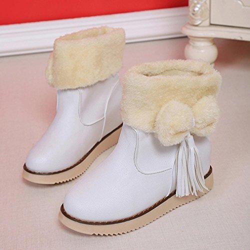 Botas Mujer,Ouneed ® Moda zapatos Flats Bowknot borla mantienen cargadores de la nieve caliente Blanco