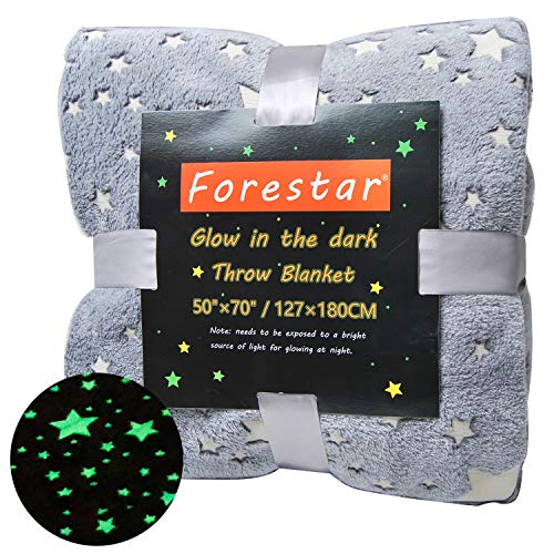 Forestar Premium Super Soft Throw Blanket for Couch Sofa Bed, Glow in The Dark Gift for Kids and Adults, 50