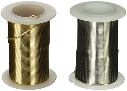 Gold and Silver Coated Craft Wire 20-Gauge Non Tarnish 45 Feet of Each Color. Perfect for Crafting Projects, Beading, Jewelry, Ornaments, Ming Trees, Wire Sculptures, and More ()