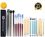 #8: Polymer Clay Tools, Genround 25pcs Modeling Clay Sculpting Tools, 5 Dotting Tools + 5 Rubber Tip Pens + 4 Ball Stylus Tool + 4 Modeling Tools Pottery Tools + 5 Clay Carving Tools + Sponge +Storage Bag