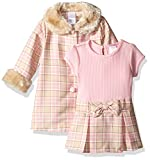 Youngland Baby Girls' 2 Piece Coat Set with Knit to Woven Dress, Pink/Tan, 18 Months