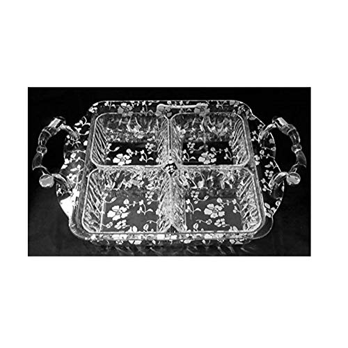 Divided Serving Tray Quality Acrylic with Handles and Lid (Silver, 4 Dividers)