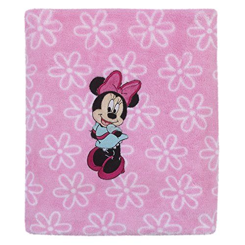 Infant Soft Cuddly Blanket (Disney Minnie Mouse Super Soft Coral Fleece Baby Blanket, Pink/Aqua)