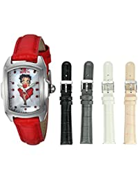 Women's 'Character Collection' Quartz Stainless Steel and Leather Casual Watch, Color:Red (Model: 25249)