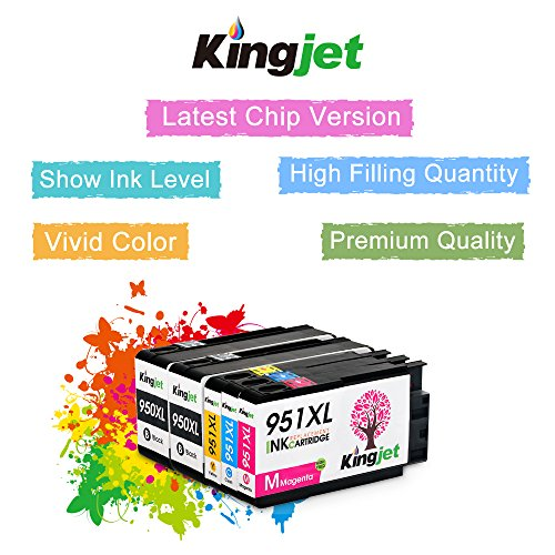 Kingjet Compatible Ink Cartridge Replacement for 950XL 951XL Work with Officejet Pro 8100 8600 8610 8615 8620 8625 8630 Printers, (1Set+1BK) with Updated Chips by Kingjet (Image #3)