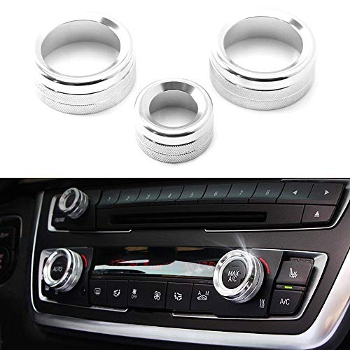 iJDMTOY 3pcs Silver Anodized Aluminum AC Climate Control and Radio Volume Knob Ring Covers For BMW 1 2 3 3GT 4 Series (F20 F22 F30 F31 F32 F33 F80 F82 F87) ()