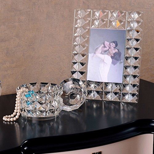 European crystal glass photo frame jewelry box perfume bottle combination ornaments romantic literary and artistic temperament and creative (Romantic Boxed Leather)