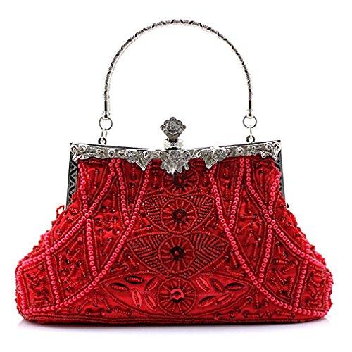 Belsen Women's Vintage Bead Sequin Evening Handbags (Red)