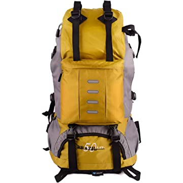 eiAmz Hiking Backpack, Water Resistance, Camping Backpack with Whistle Buckle, Rain Cover, High-Performance Backpack for Hiking, Camping, Trekking, 50L, Nylon, Yellow