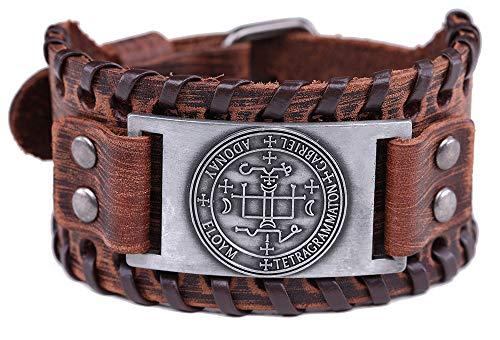 Vintage Amulet The Sigil of Archangel Gabriel Seal of Solomon Talisman Belt Buckle Brown Leather Bracelet for Men Women (Brown Leather, Antique Silver) ()