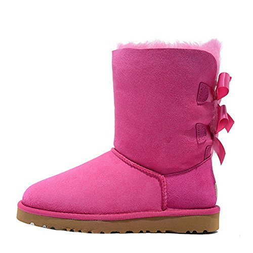 Boots Leather Snow Flat Bow Fashion EKS With Women's Rose Winter Genuine Warm 0x8qE1EBn