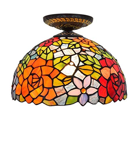 Tiffany Style Ceiling Light, Stained Glass Rose & Tulip Pattern Lampshade Ceiling Lamp, Study Office Corridor Lighting Ceiling Fixtures 12-Inch,110-240V ()