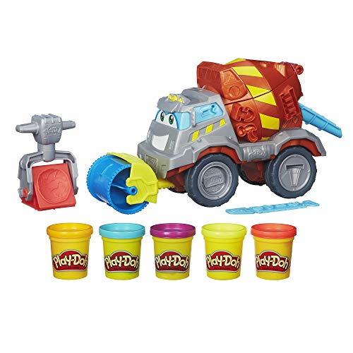 Play-Doh Max The Cement Mixer Toy Construction Truck with 5 Non-Toxic Colors, 2-Ounce Cans