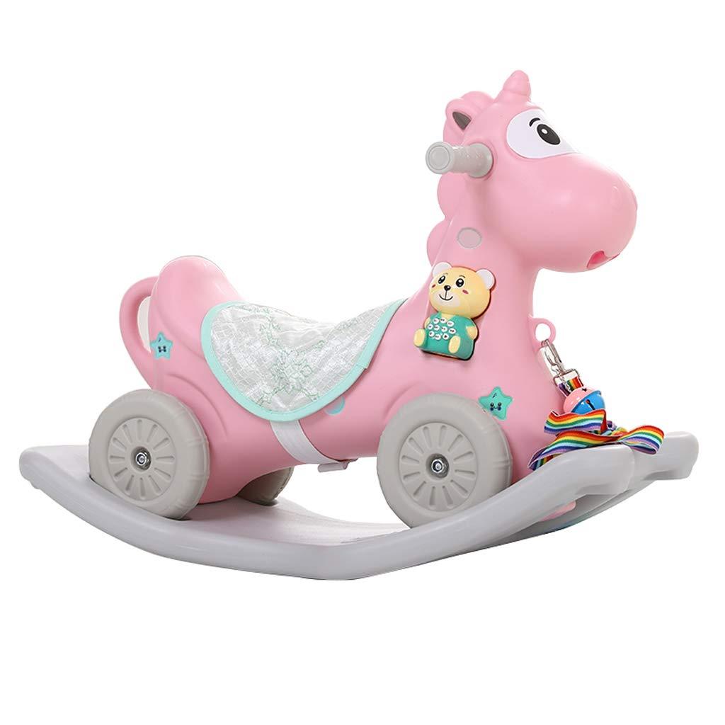 FJH Schaukelpferde Schaukelpferd kinder Holz Pferd Baby Kunststoff Gürtel Musik Verdickung Baby Spielzeug Schaukelstuhl Dual-use 68  45 cm (Farbe   Blau) Rosa