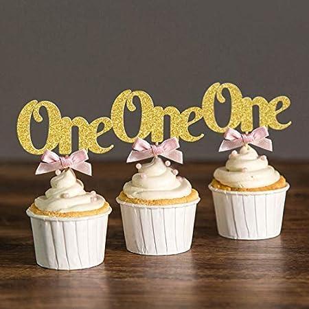 xiaoyamyi 6Pcs Bolsa Primer Cumpleaños Adornos de Cupcake ...