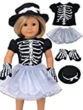 Sassy Silver Skeleton Halloween Costume Fits 18'' American Girl Dolls, Madame Alexander, Our Generation, etc. | 18 Inch Doll Clothes