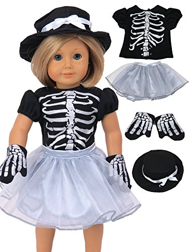 Sassy Silver Skeleton Halloween Costume Fits 18'' American Girl Dolls, Madame Alexander, Our Generation, etc. | 18 Inch Doll Clothes by American Fashion World