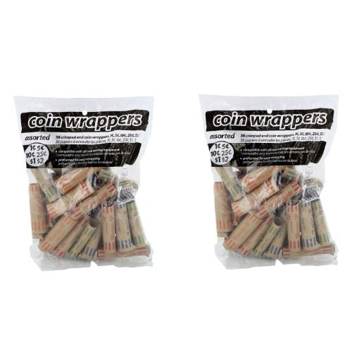 (Coin-Tainer Assorted Coin Wrappers 36 Ct Bag 2-pack)