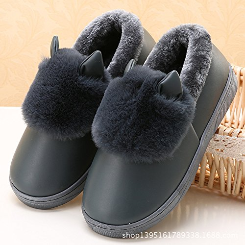 Icegrey Unisex Zapatillas De Estar Por Casa Calientes felpa de piel sintética Con 3D Vaca Botas De Interior Para La Pareja Negro