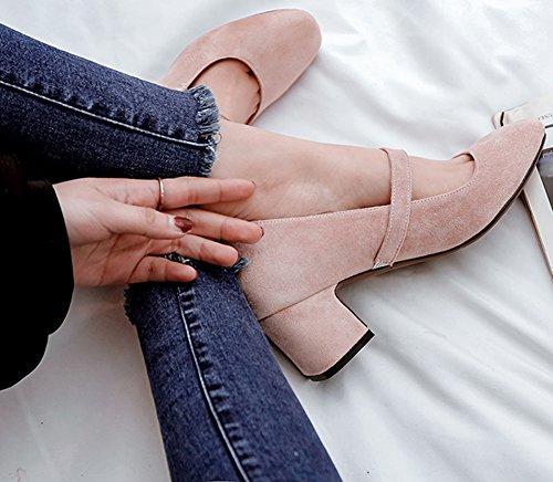 Idifu Womens Doux Orteil Carré Tirer Sur Des Chaussures De Mary-jane De Coupe Basse Chaussures Avec Talon Chunky Rose